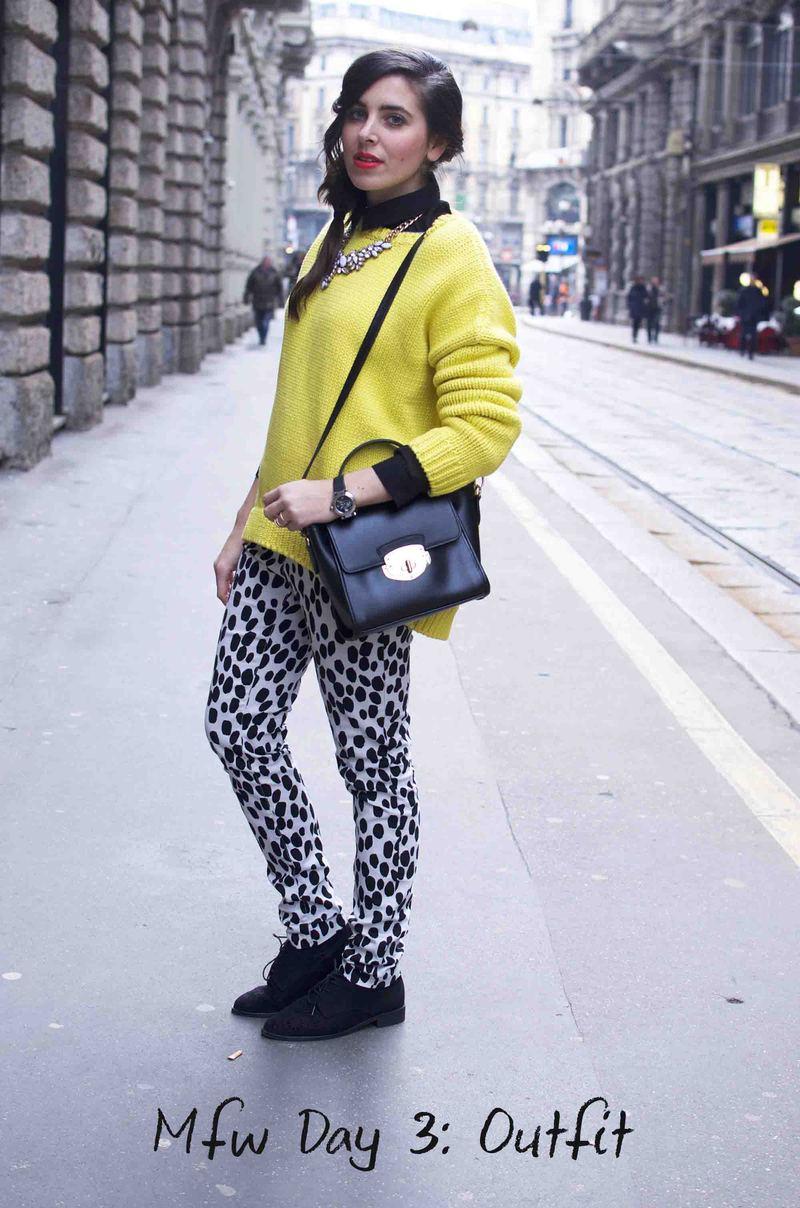 Mfw Day 3: Un maglione giallo e dei pantaloni bianchi e neri
